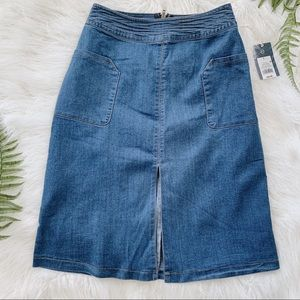 BRAND NEW A-line denim skirt with front slit